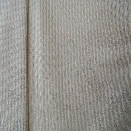 【単衣】白練色縞に松柄小紋