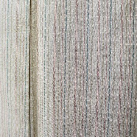 【袷】黄朽葉色系 細かな市松の紬