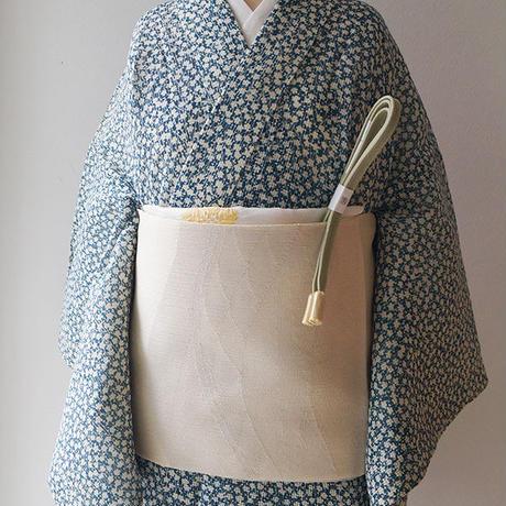 お取り置き中・【夏ふくろ帯】生成り地に銀糸づかい 山波文 紗ふくろ帯
