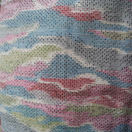 【単衣】カラフルな雲取り文紬 スモールサイズ 3k14
