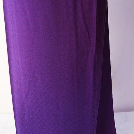 【袷】本紫色 花菱地紋 色無地