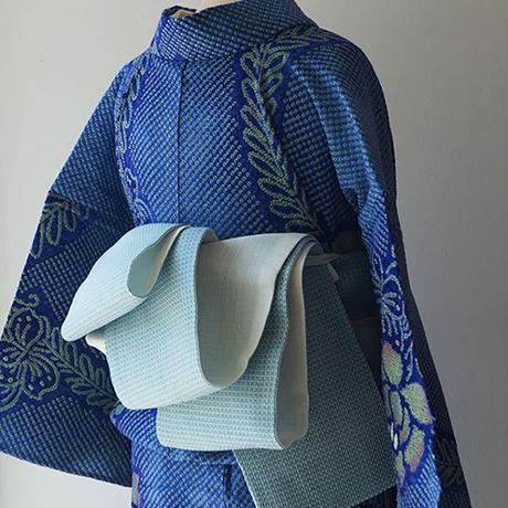 【半幅帯】水色×白×青緑色 織り柄 麻半幅帯