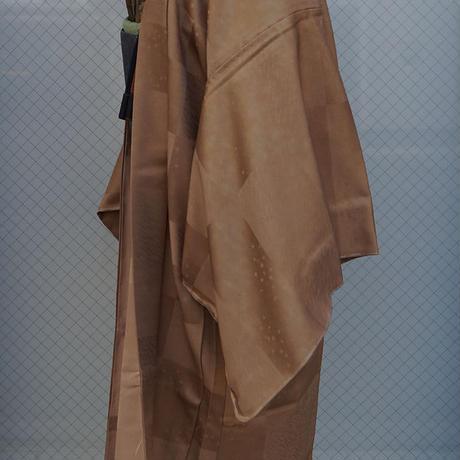 【単衣羽織】黄橡色 変わり市松に地紋 単衣羽織