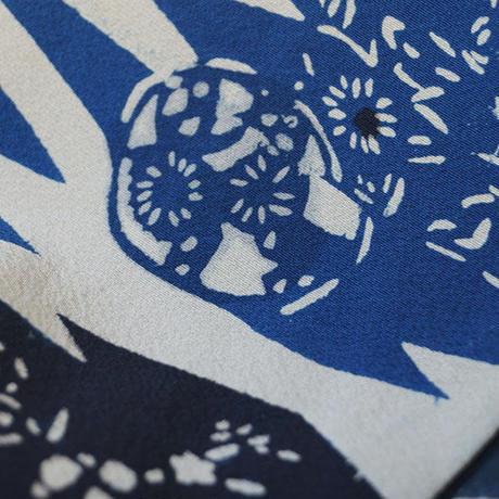 【袷】生成り地 松皮菱文 型染 小紋