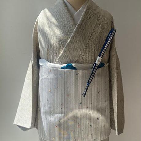 【ふくろ帯】白銀系 多彩な横段 綴れふくろ帯