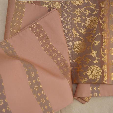 長春色横段文織り袋帯