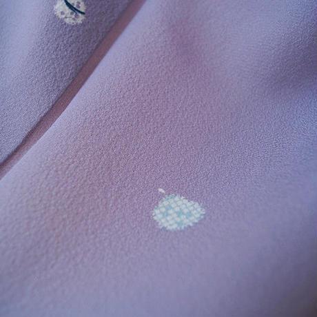 【単衣】桔梗鼠色地 貝模様 小紋 3k43