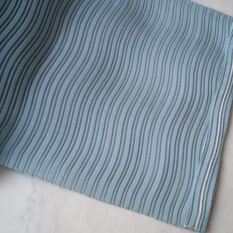 【夏なごや帯】水色地 横段よろけ縞 絽なごや帯 