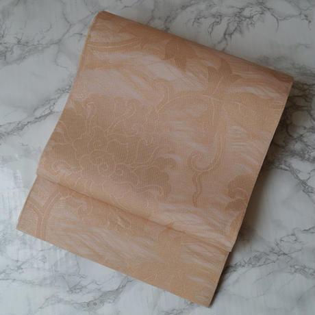 【夏ふくろ帯】織悦製 シャンパンゴールド系 唐花文 紗袋帯