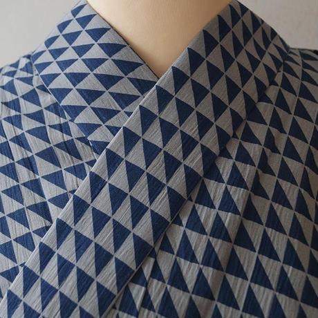 【men's浴衣】納戸色×灰色 幾何学文 仕立て上がり 浴衣