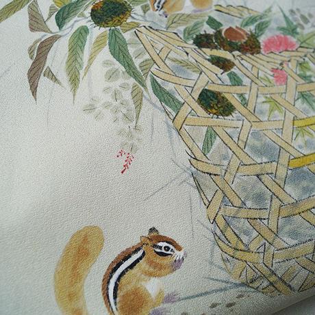 【なごや帯】薄青磁鼠地に花籠と栗鼠文 なごや帯