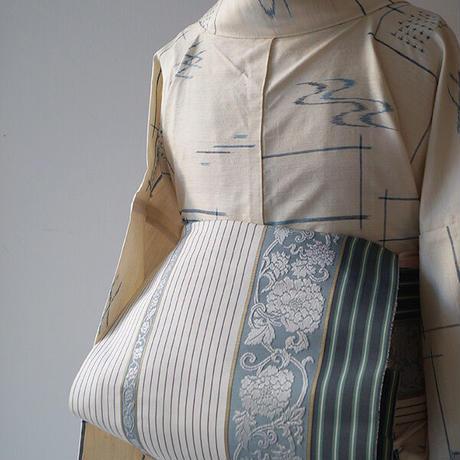 【なごや帯】更紗と縞 博多なごや帯