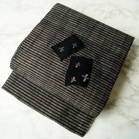 【なごや帯】黒に生成り 横縞 カード文 麻 かがり名古屋帯