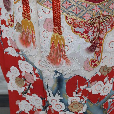 【振袖】深緋色 宝箱に梅柄 アンティーク振袖コーディネートセット