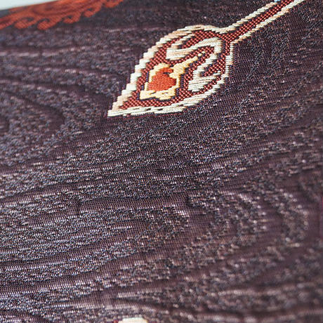 【なごや帯】葡萄茶色系 モダン抽象柄 化繊 八寸なごや帯