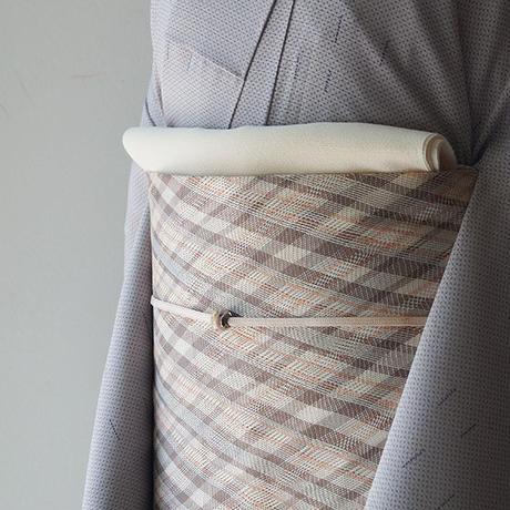 【夏ふくろ帯】生成地 格子文 紗ふくろ帯