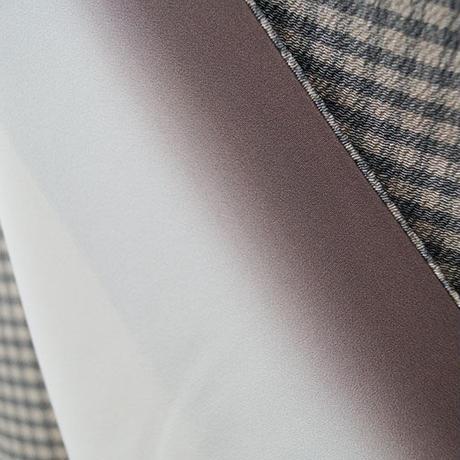 【袷】灰色系 格子柄 小紋