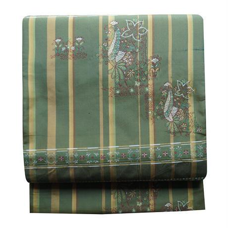 深緑色格子柄龍村製織り袋帯
