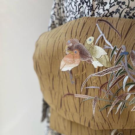 お取り置き中・【ふくろ帯】絞り染め地、鳥に竹の刺繍の洒落ふくろ帯