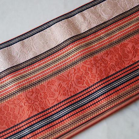 【半幅帯】珊瑚色×淡桃色など他色使い 博多織 半幅帯