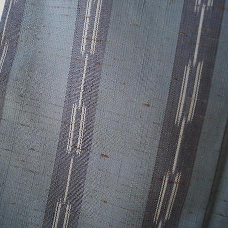 お取り置き中【袷】青藤色縦絣縞文ぜんまい紬