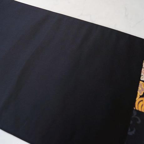 【ふくろ帯】黒地 名物裂花兎金襴文 ふくろ帯