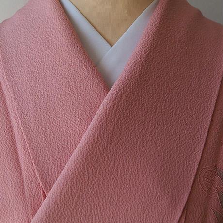 【袷】桃色地花々のスワトウ刺繍附下 5k6