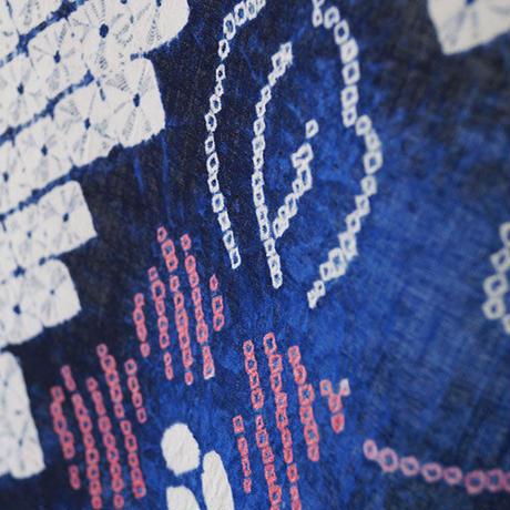 【反物】濃紺×生成り色 花風鈴文 木綿 ゆかた 反物  №210605