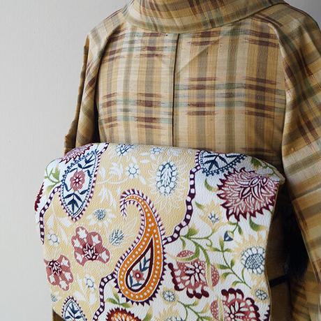 【なごや帯】栗山工房 ペイズリーと唐花文 型染めなごや帯