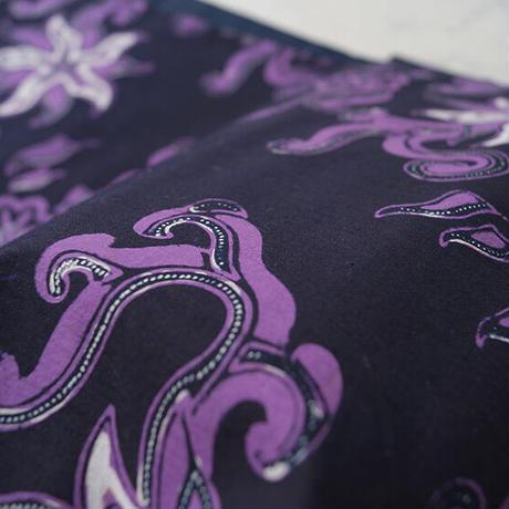【なごや帯】濃紺色地 濃藤色×白色 ジャワ更紗 仕立ておろし なごや帯 <更紗のみ>