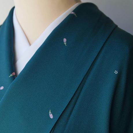 【袷】青緑色地 小花につぼみ柄 小紋