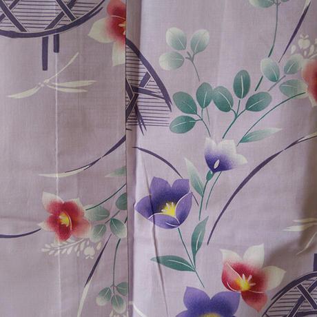 【浴衣】薄紫色 籠目に夏花 浴衣 6k67