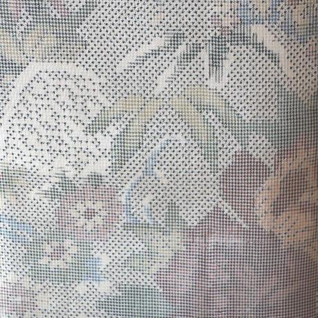 【袷】草花文染め大島紬