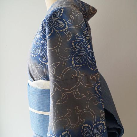 【浴衣】青×灰色暈かし 花唐草文 浴衣