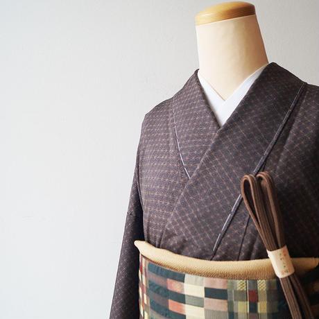 お取り置き中・【袷】黒茶色 麻の葉文 薩摩結城紬