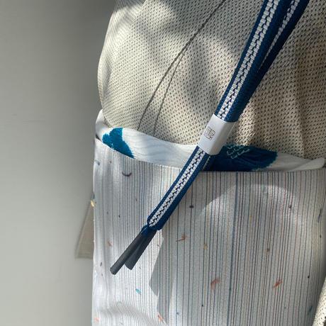 【袷】白地植物文 蚊絣 塩沢紬附下げ