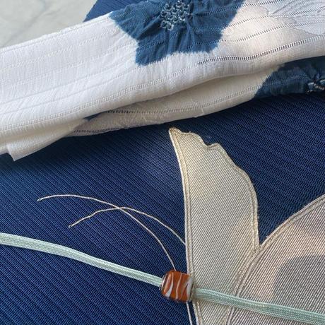 お取り置き中【夏なごや帯】紺色地 蝶々刺繍 絽綴れなごや帯 