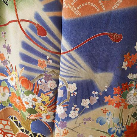 【袷】青濃鼠色扇と花車のアンティーク着物