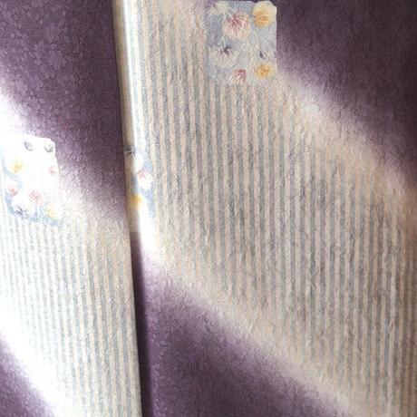 【袷】縞に斜め暈しと蔦柄小紋