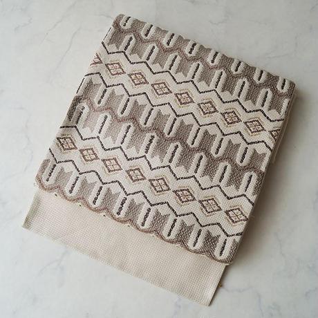 【ふくろ帯】象牙色地に茶系幾何学横段文 洒落ふくろ帯