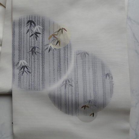 【なごや帯】白地 丸文に竹 塩瀬なごや帯