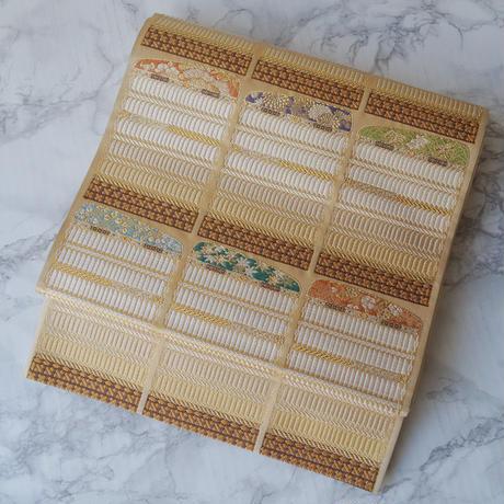 【ふくろ帯】鎧縅文 唐織本金箔 袋帯