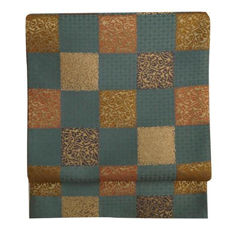 青銅色市松に唐草文の袋帯