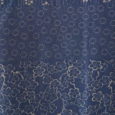 【袷】青色地系文様や植物柄の変わり横段小紋
