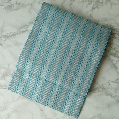 【なごや帯】濃淡浅葱色幾何学文浮き織り名古屋帯