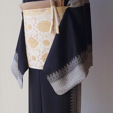 【ふくろ帯】生成り地 金銀糸使い 更紗文 ふくろ帯