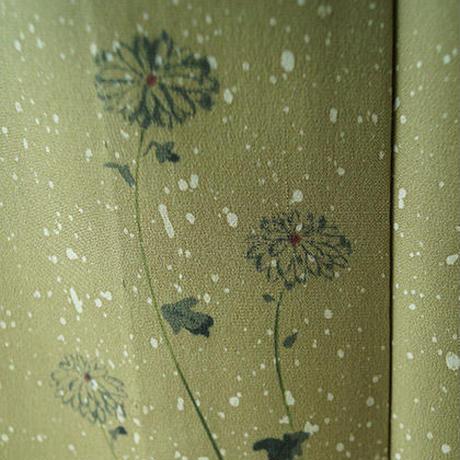 【単衣】青朽葉色たたき染菊柄附下