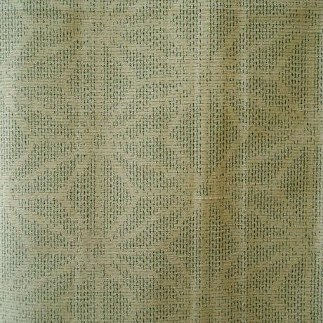 【袷】アイボリー色系麻の葉柄紬