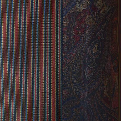 ☆【袷】臙脂色系 矢鱈縞とペーズリー柄紬 3k32