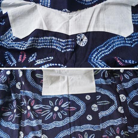 【浴衣】濃藍地 雲と花文 絞り浴衣
